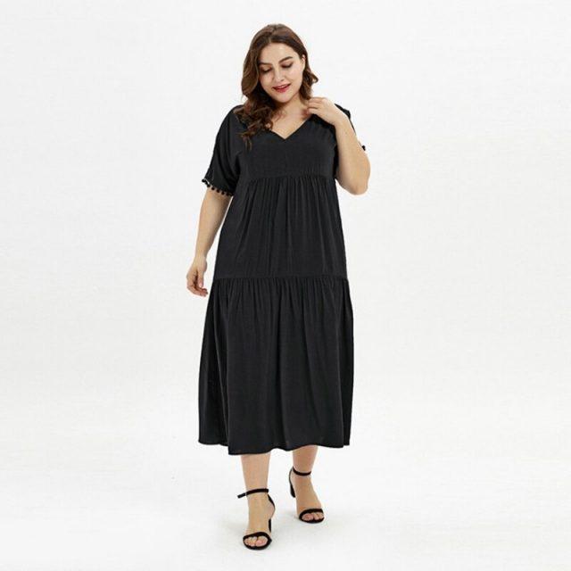 V Neck Cotton Comfortable Plus Size Dress