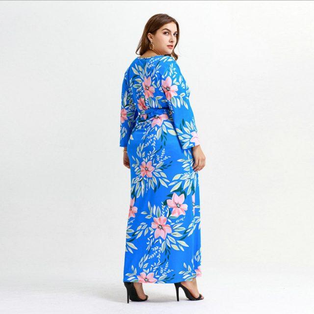 Long Sleeves Printed Flower V Neck Fork Leg Sexy Plus Size Dress