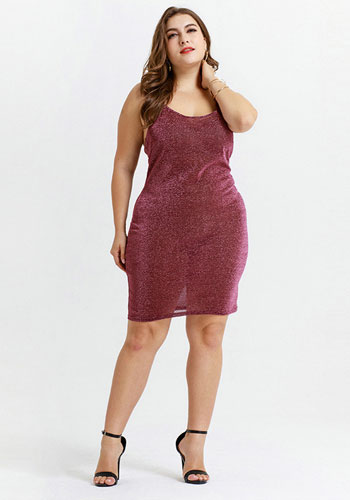 Wine Red Sexy Night Club Twinkle Strap Plus Size Dress