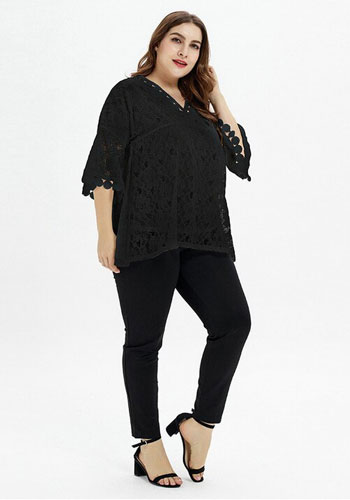 Loose Casual Lace Bell Sleeve Plus Size Dress - Best for Office Work
