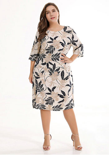 Long Sleeves Printing Loose Leisure Straight Plus Size Dress