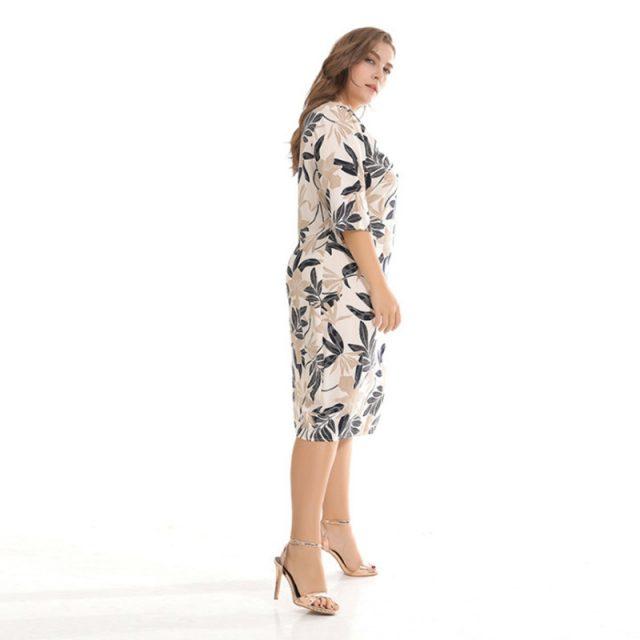 Long Sleeves Printing Loose Leisure Straight Plus Size Dress