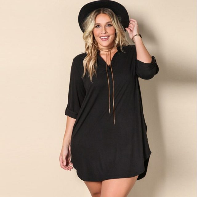 Loose V-Collar Irregular Long Black Shirt Dress