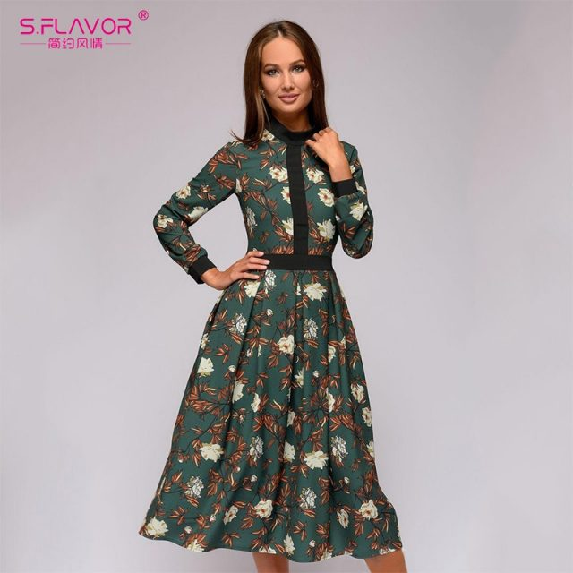 S.FLAVOR patchwork printing women A-line dress 2019 Autumn Winter vintage style vestidos for female Casual bottom long dress