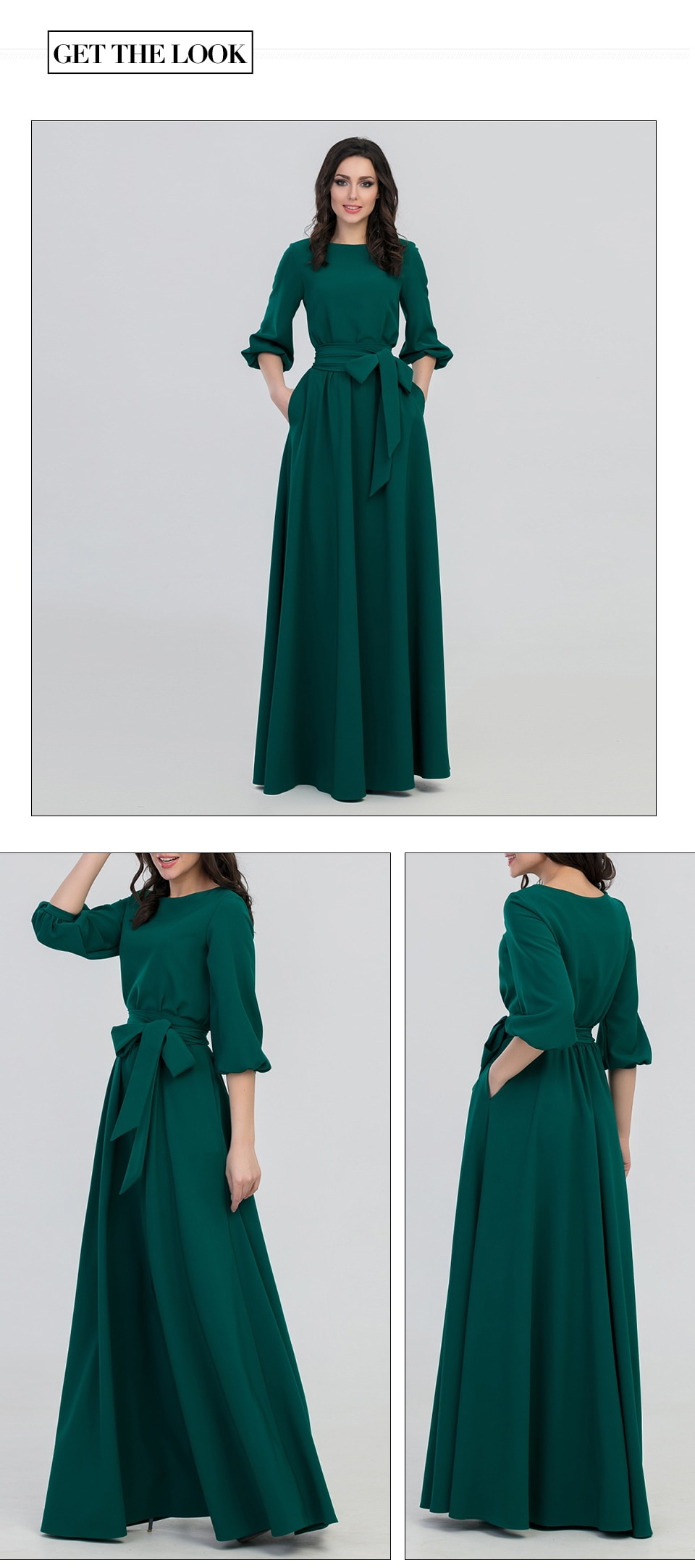 S.FLAVOR Autumn Winter woman O-Neck long dress bohemian style slim vestidos vintage three quarter lantern sleeve casual dress