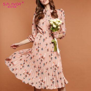 S.FLAVOR Black Flower Print A-line Dress Autumn Elegant New Fashion Party Vestidos Casual Dress For Female