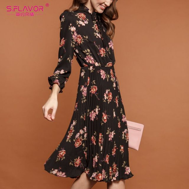 S.FLAVOR Black Flower Print A-line Dress Autumn Elegant New Fashion Party Vestidos Casual Dress For Female