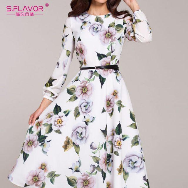 S.FLAVOR Women Casual Dress Wrist Sleeve Autumn Winter Print Party Vestidos Ladies Elegant Vintage A Line Dresses No Belt