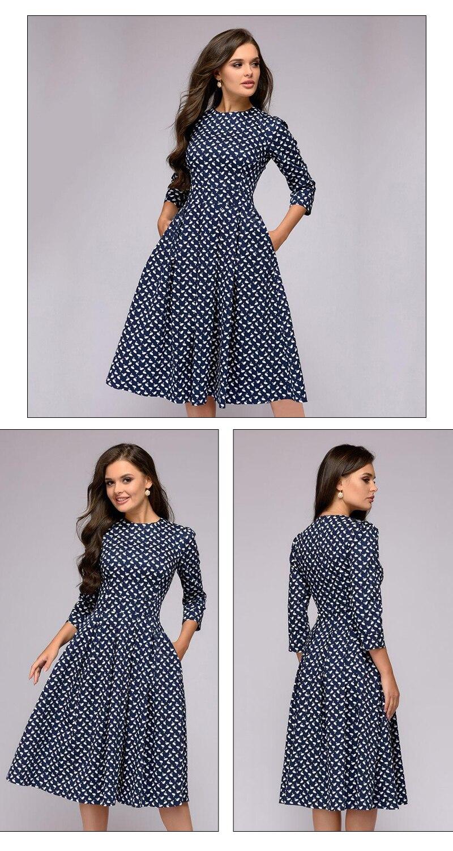 S.FLAVOR Elegant A-line Dress Vintage printing Slim Party Dress Three Quarter Sleeve women Autumn Winter vestidos