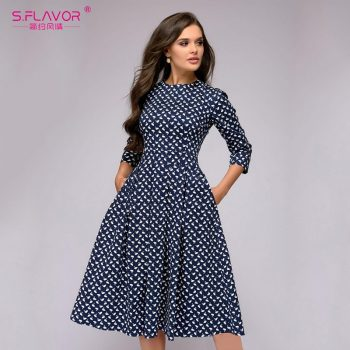 S.FLAVOR Elegant A-line Dress Vintage printing Slim Party Dress Three Quarter Sleeve women Autumn Winter vestidos