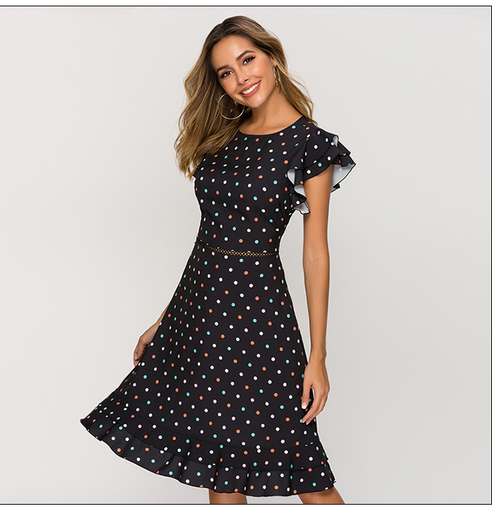 S.FLAVOR Sexy Waist Hollow Out Women Dress 2019 Newest O-neck Dot Point Chic Dress Female Slim Fashion A-line Vestidos
