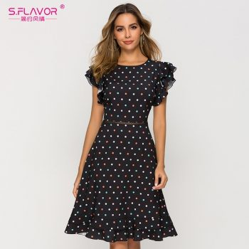 S.FLAVOR Sexy Waist Hollow Out Women Dress 2019 Newest O-neck Dot Point Chic Dress Female Slim Fashion A-line Vestidos