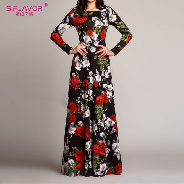 S.FLAVOR Women Elegant O Neck Long Dress Casual Long Sleeve Vintage Floral Printed Maxi Dress Autumn Winter Slim Party Vestidos
