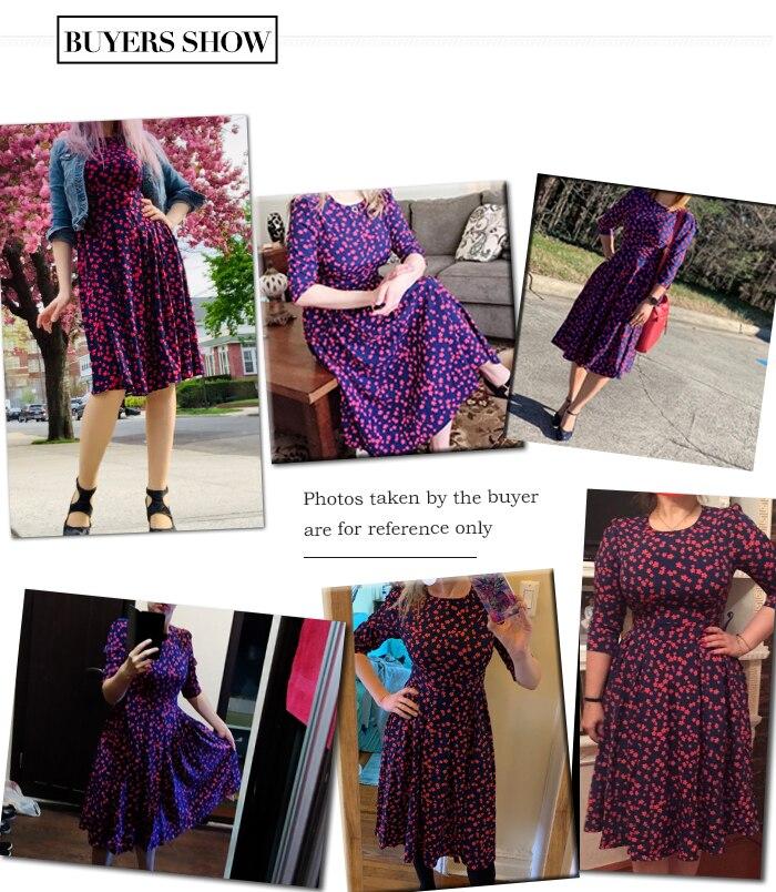 S.FLAVOR Women Elegant A-line Dress 2019 Vintage printing party vestidos Three Quarter Sleeve women Slim Autumn Winter Dress