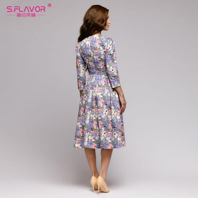 S,FLAVOR women Autumn Winter dress hot sale Casual Style printing long dress for female O-neck long sleeve loose vestidos