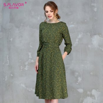S.FLAVOR Casual Women Autumn Winter A-line Dress O-neck Three Quarter Sleeve Knee-length Dress Female Elegant Printing Vestidos