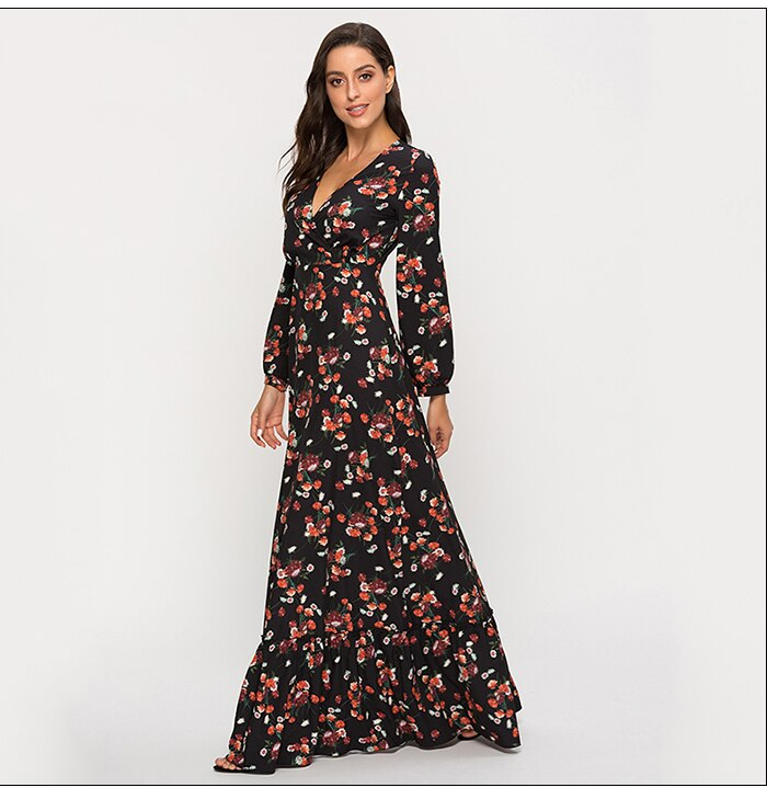 S.FLAVOR Flower Printing Deep V-neck Sexy Vestidos Woman Casual Long Sleeve Autumn Winter Long Maxi Dresses Bohemian Maxi Dress