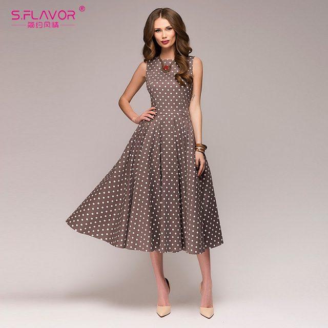 S.FLAVOR Women Vintage Dress Sleeveless O-neck Vestidos De Festa Women Elegant Thin Dot Printing Mid-Calf Casual Dress Female