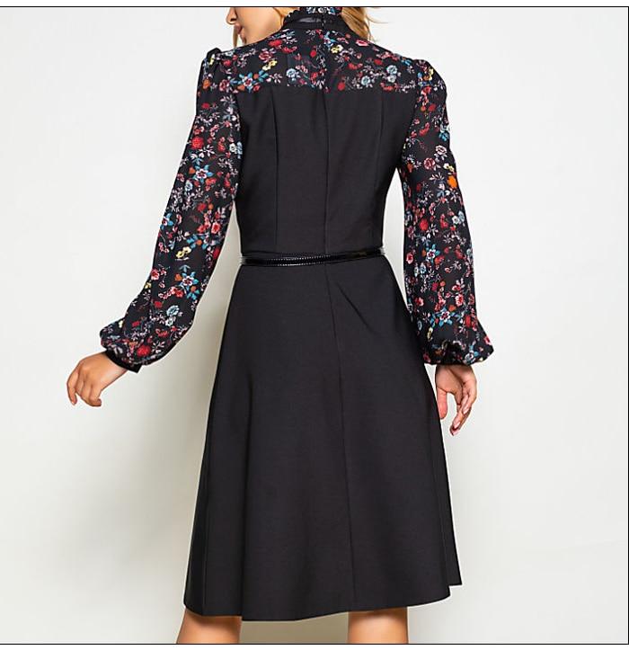 S.FLAVOR Women Autumn Winter Vintage A-line Dress NO Belt Elegant Flower Print Patchwork Long Sleeve Dress Party Vestidos