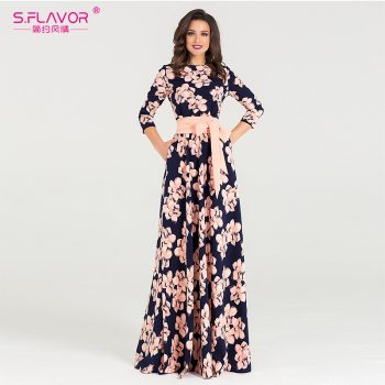 S.FLAVOR Women printing Autumn Winter dress Elegant O-neck loose long party dress for female Hot sale women vestidos No pockets