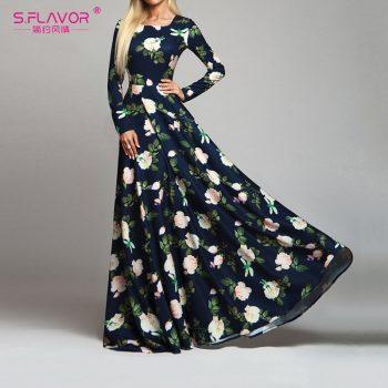 S.FLAVOR Women Retro Floral Printed Dress Fashion Long Sleeve O Neck Sexy Long Dresses Autumn Winter Elegant Party Vestidos De