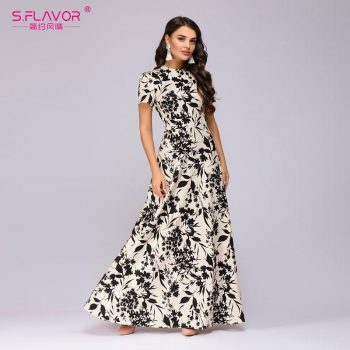 S.FLAVOR Women Long Dress Short Sleeve Floral Print Boho Dress Elegant Party Dress Slim Maxi  vestido de festa