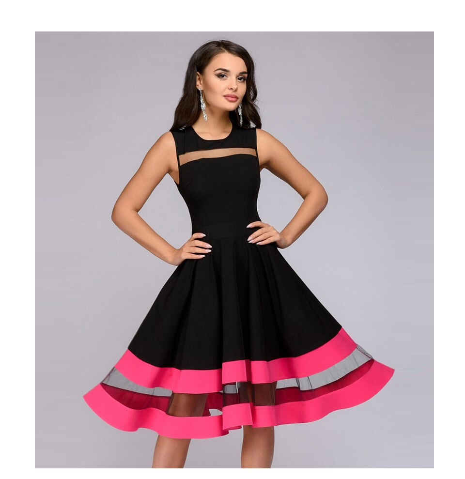 S.FLAVOR Women elegant knee-length dress sexy mesh patchwork O-neck A-line Vestidos women Vintage Sleeveless party dress