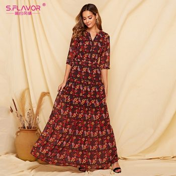 S.FLAVOR 2019 Floral Printed Women Long Dress Three Quarter Sleeve Casual Chiffon Vestidos De Bohemian Style Beach Dress Female