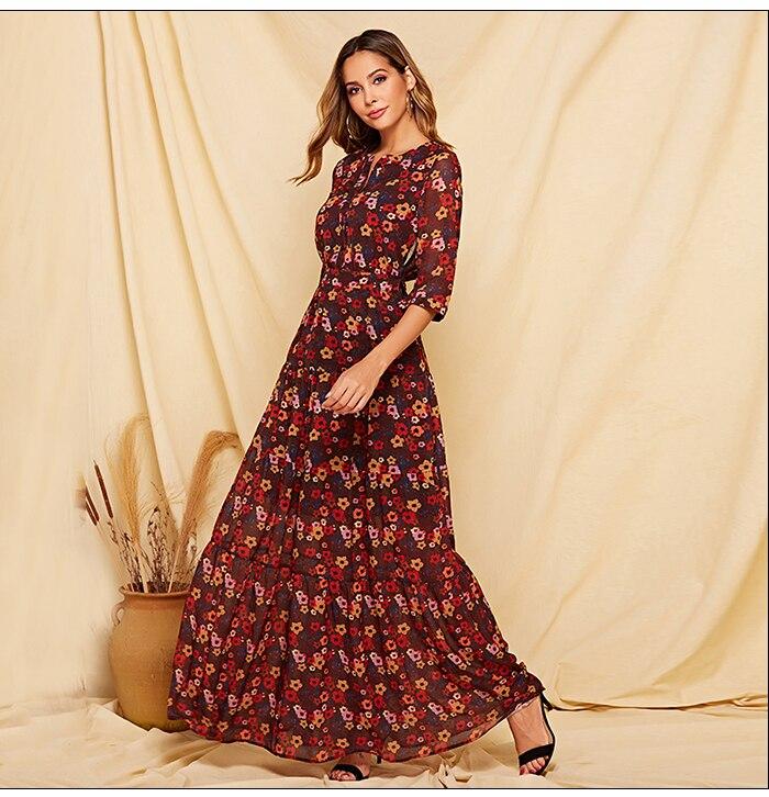 S.FLAVOR 2019 Floral Printed Women Long Dress Three Quarter Sleeve Casual Chiffon Vestidos De Bohemian Style Beach Dress Female