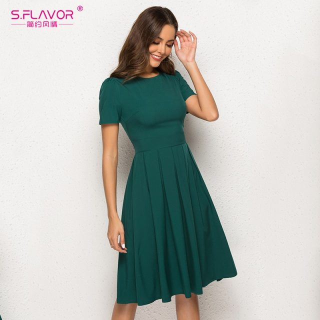S.FLAVOR Women Vintage A Line Dress Short Sleeve O Neck Knee Length Solid Dress New Fashion Women Elegant Party Dresses