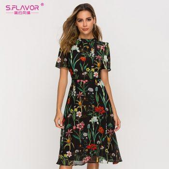 S.FLAVOR Short Sleeve Printing Dress For Female New Fashion Chiffon Slim A-line Dress Bohemian Hollow Out Vestidos