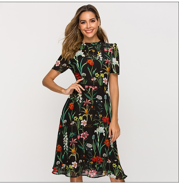 S.FLAVOR Short Sleeve Printing Dress For Female New Fashion Chiffon Slim A-line Dress Bohemian Hollow Out Vestidos
