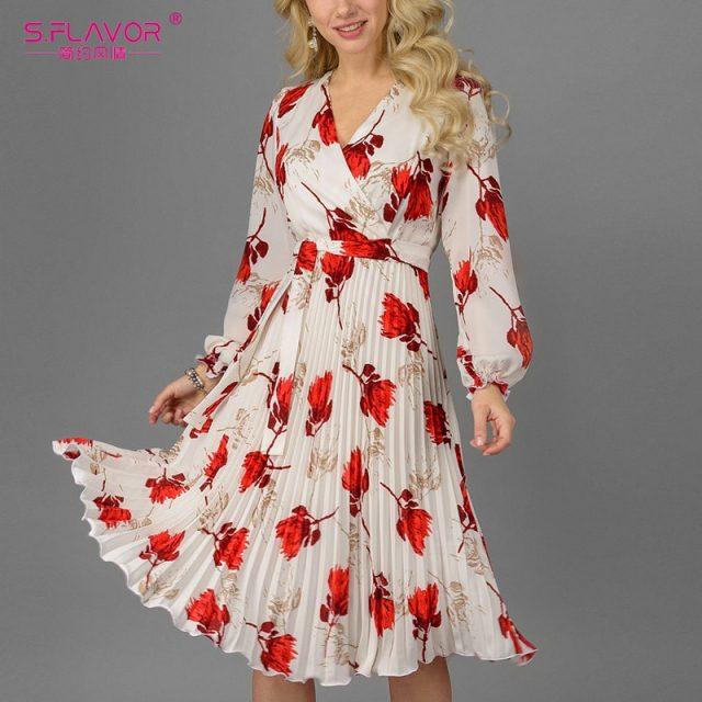 S.FLAVOR Women Slim Floral Printed A-line Dress Elegant V-neck Long Sleeve White Vestidos For Female Autumn Dress