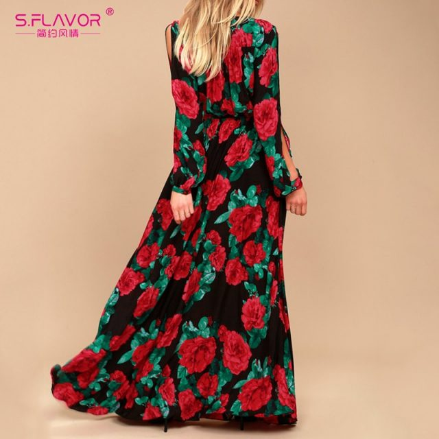 S.FLAVOR women bohemian long dress Hot sale rose printing V-neck sexy vestidos de festa Autumn Winter fashion long sleeve dress