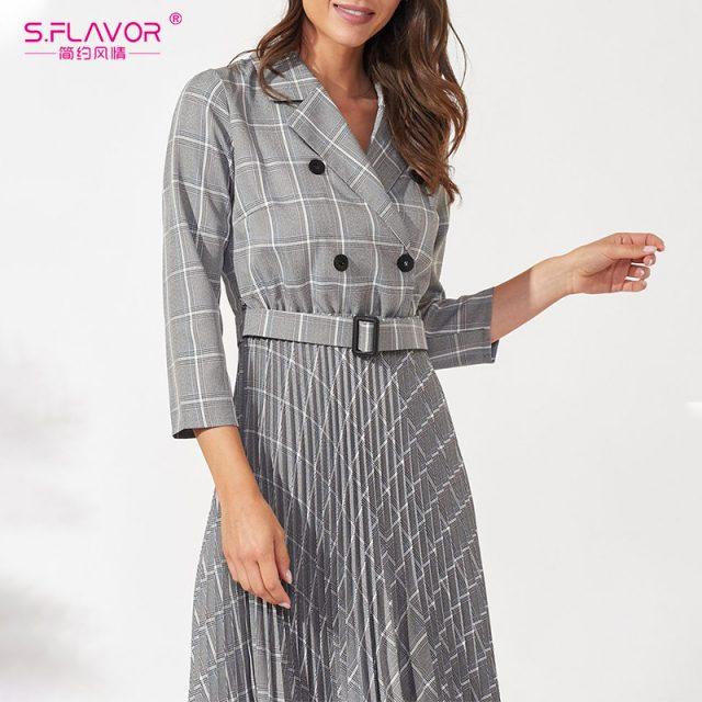 S.FLAVOR Women 3/4 Sleeve Plaid Blazer Dress Elegant Party Pleated Dresses 2019 Office Ladies Autumn Winter Vintage Vestidos