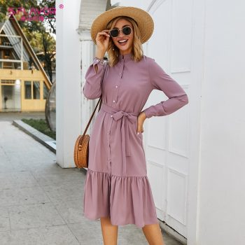 S.FLAVOR Women Stand Collar Autumn Dress Elegant Single Button Pleated Casual Long Dress For Femme Winter Shirts Vestidos