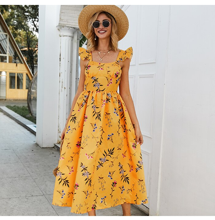 S.FLAVOR Floral Printed Sleeveless Party Vestidos Women Square Collar Slim Yellow Dress Elegant A-line Long Dress