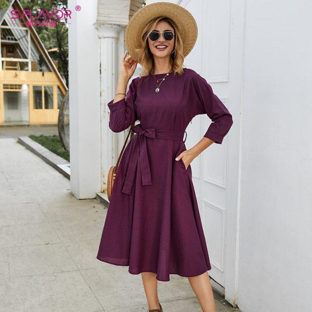 S.FLAVOR Purple Cotton Casual Dress Women three Quarter Sleeve Autumn Winter Dress Elegant Loose Belt Cotton Vestidos