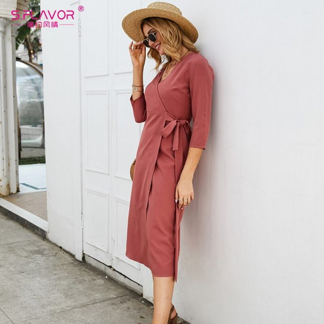 S.FLAVOR Red Color Pencil Dress For Women Elegant V-neck Three Quarter Sleeve Long Dress Office Lady Autumn Winter Slim Vestidos