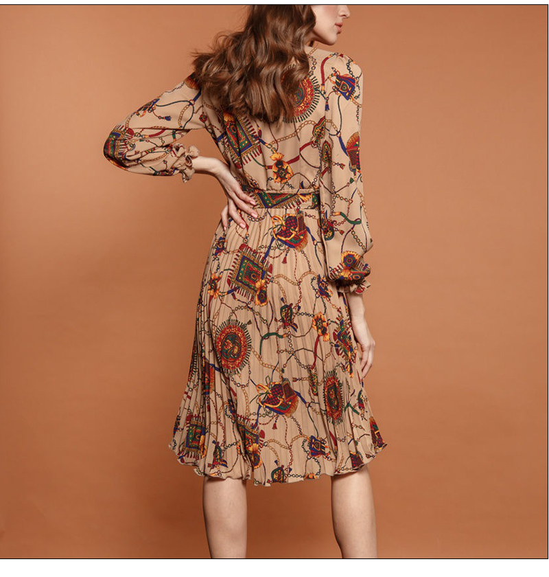 S.FLAVOR Autumn Vintage V neck Dress Fashion Long Sleeve Sexy Dress Retro Floral Pattern Print Knee Length Party Vestidos