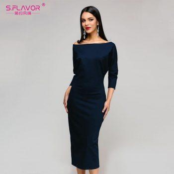 S.FLAVOR Solid Color Sheath Women Dress Autumn Winter Three Quarter sleeve pencil dress Women Slash neck mid-calf vestidos