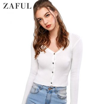 ZAFUL Button Up Ribbed Knit Cardigan For Women V-Neck Long Sleeve Slim Female Solid Color Tops Autumn Newest 2019