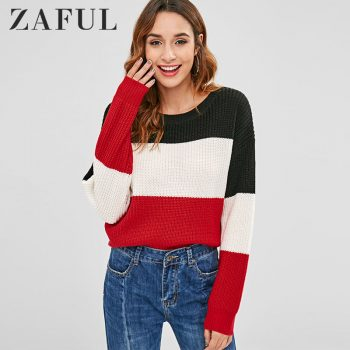 ZAFUL Women Contrasting Pullover Striped Sweater Round O Neck Long Sleeve Sweater Classic Femme Elasticity Pullovers 2019 Winter