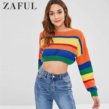 ZAFUL Dropped Shoulder Color Block Sweater O-Neck Elastic Waist Patchwork Loose Pullovers Streetwear Women Sweet Tops Autumn