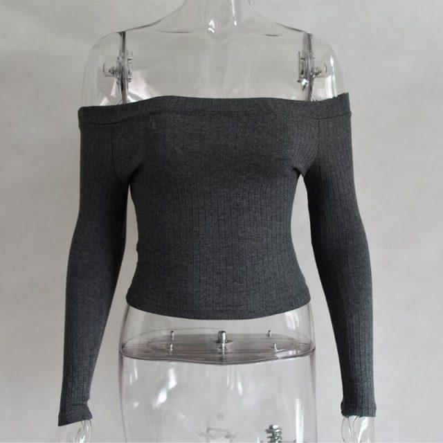 Sexy Crop Slash Neck Long Sleeve Knitting Cotton T-Shirt Tops and Tees