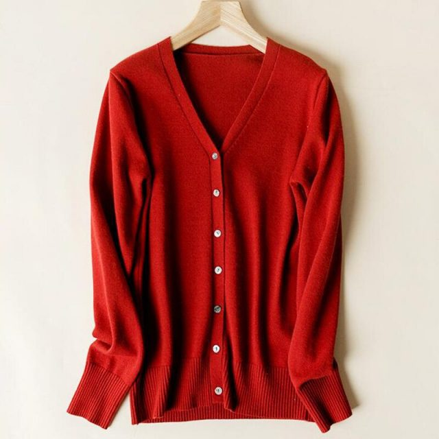 Lossky Women Knitted Sweater Cardigan Korean Style V Neck Autumn Long Sleeve Coat Female Red Black Wild Ladies Clothing Minimali