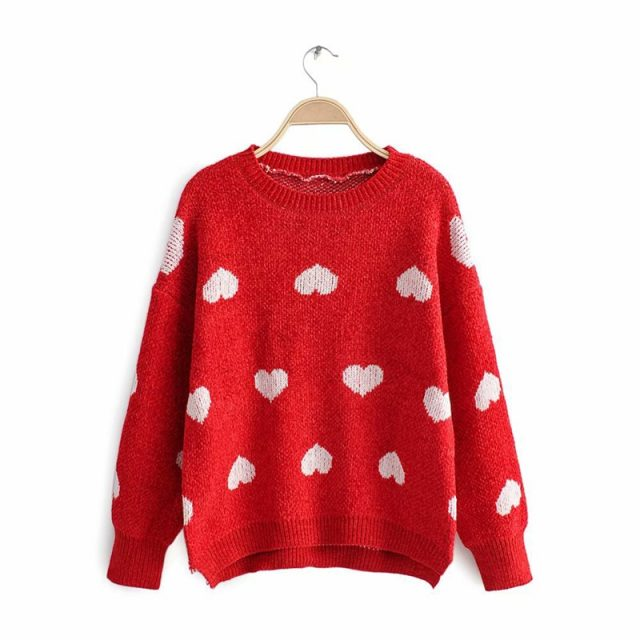 Lossky Sweater Tops Women Autumn Winter Chenille Long Sleeve Loose Red Knit Pullovers Fashion Heart Print Clothing 2019 Leisure