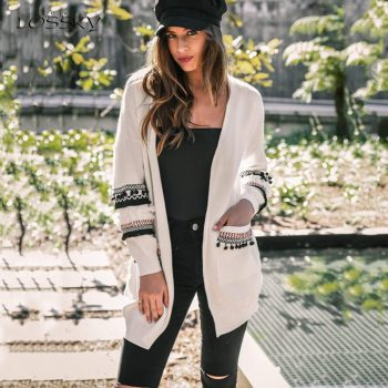 Lossky Women's Long Cardigan Sweater Coats Stitching Long Sleeve Autumn Spring Warm Ladies Sweaters Loose White Black Soft Coats