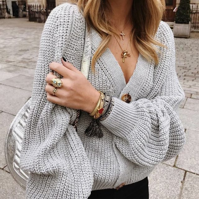Lossky Women Sweater Long Sleeve Warm Clothing Plus Size Female New Autumn Winter Loose White Ladies V-neck Short Cardigan Coats