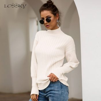 Lossky Tops Woman Long Sleeve Autumn Winter Sweaters Knitting Turtleneck Slim Pullovers Yellow Fashion Clothing 2019 Ladies Wear